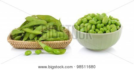 Green Soybeans In The Basket And Bowl On White Background