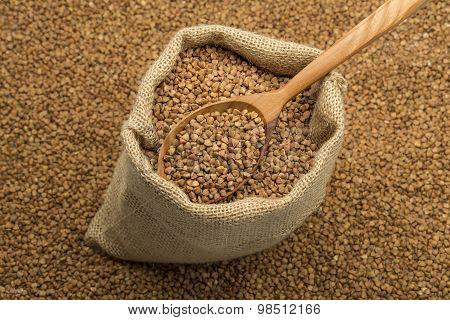 linen bag with buckwheat