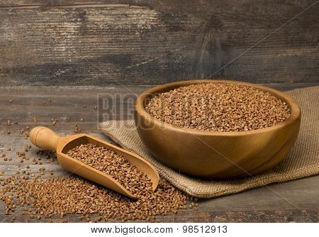 buckwheat in a wooden bowl