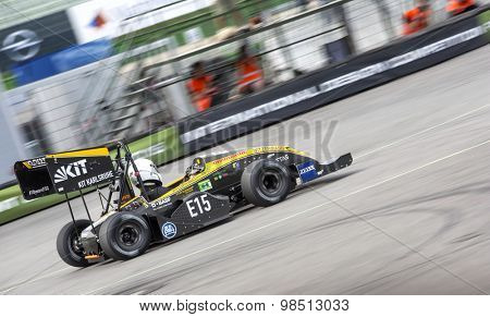 HOCKENHEIM, GERMANY - AUGUST 2, 2015: The formula student team from KIT Karlsruhe, Germany, during the last dynamic event of the officious world championships in action on the hockenheimring