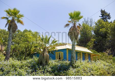 Typical Blue House On Seashore In Dominican Republic