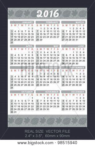 Wallet Calendar 2016, Start On Sunday