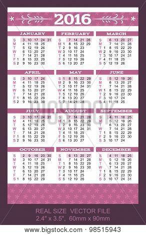 Pocket Calendar 2016, Start On Sunday