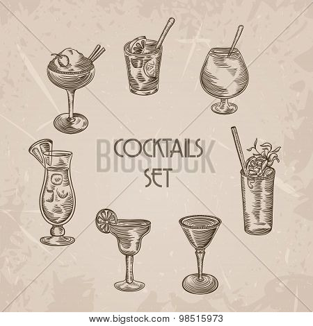 Collection of vintage cocktails. Retro hand drawn vector illustrations on grunge background