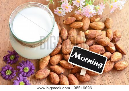 Morning With Almond And Almond Milk.