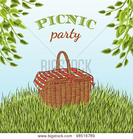 Picnic party in meadow with picnic basket and tree branches. Summer vacation. Hand drawn vector illu