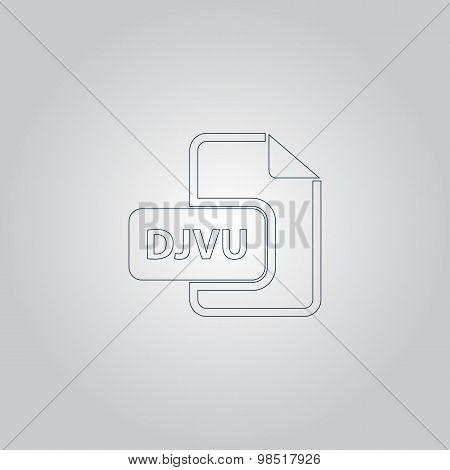 DJVU ebook file extension icon vector.