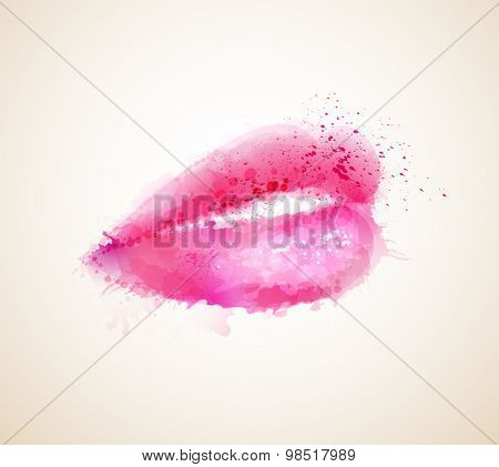Beautiful woman pink lips formed by abstract blots