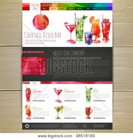 Watercolor Cocktail Concept Design. Corporate Identity. Web Site Design