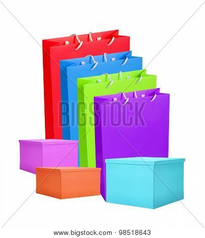 Colourful Paper Shopping Bags And Box Isolated On White