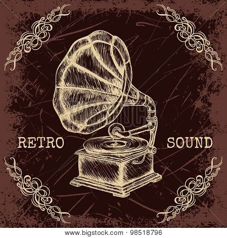 Poster with vintage gramophone. Retro hand drawn vector illustration label