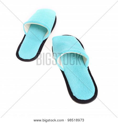Blue Slippers Footwear Isolated On White Background