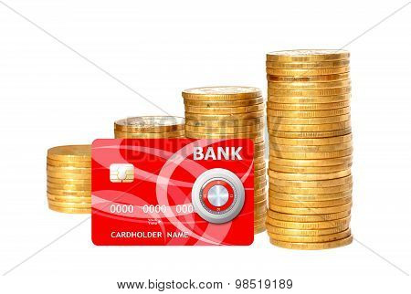 Savings, Increasing Columns Of Gold Coins And Red Credit Card Isolated On White