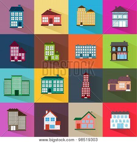 Houses Icons Set Flat Style