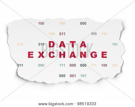 Information concept: Data Exchange on Torn Paper background