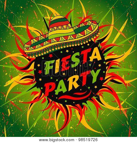 Mexican Fiesta Party label with sombrero and confetti .Hand drawn vector illustration poster with gr