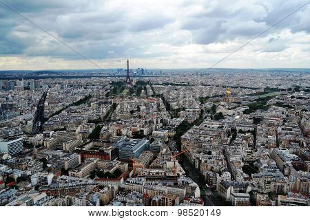 View from the Montparnasse Tower Paris (France) and the Eiffel Tower, the geometry of streets