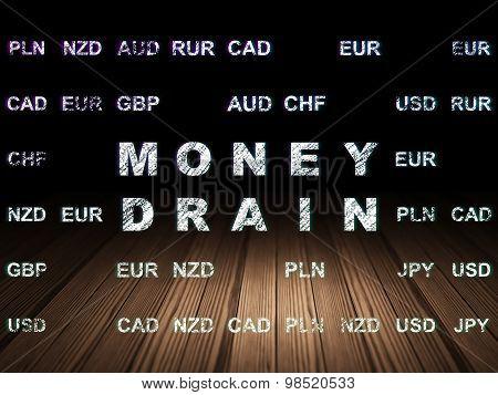 Currency concept: Money Drain in grunge dark room