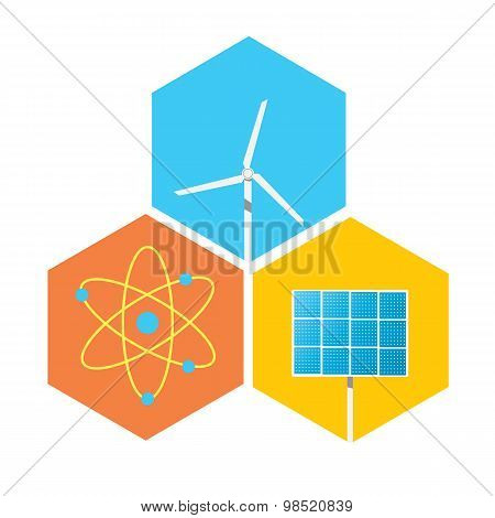 icon solar panels, wind turbines, atom