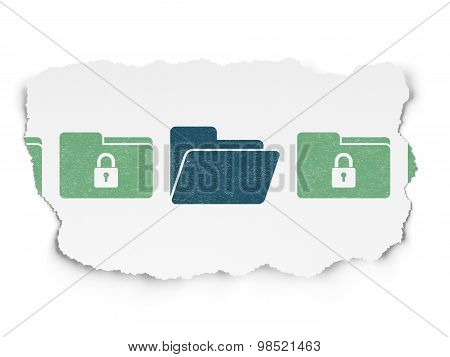 Privacy concept: folder icon on Torn Paper background
