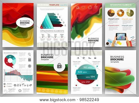 Red, Green, Yellow Backgrounds And Abstract Concept Infographics