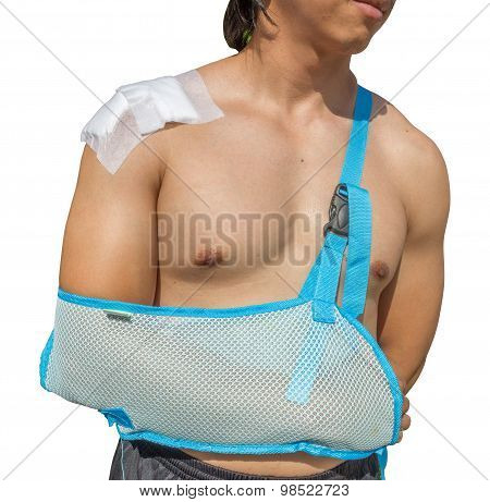 Man With Arm In Sling Isolated On White Background With Clippingpath
