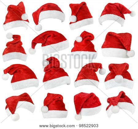 Set Of Santa Claus Red Hats