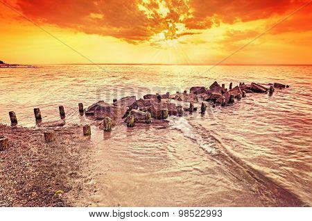 Beautiful Amber Sunset Over Beach, Summer Background.