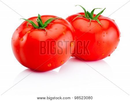 Two Wet Red Tomatoes Isolated On White Background