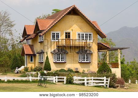 Beautiful Yellow Stone House In The Tourist Town Of Pai, Mae Hong Son,thailand