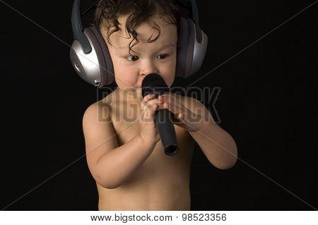 happy boy listening to music