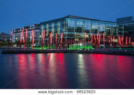 Dublin Grand Canal docklands at night. Ireland.