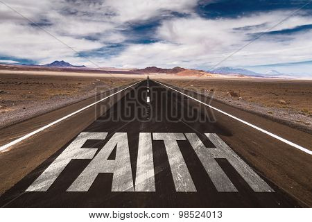 Faith written on desert road