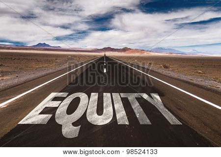 Equity written on desert road
