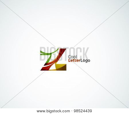 Z alphabet letter logo. Created with transparent colorful overlapping geometric shapes, waves and flowing elements