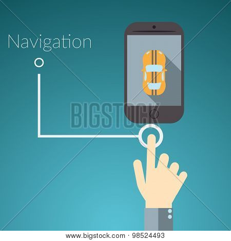 Flat Design Vector Illustration Concept For Online Services. Concepts For Hand Touching Smart Phone