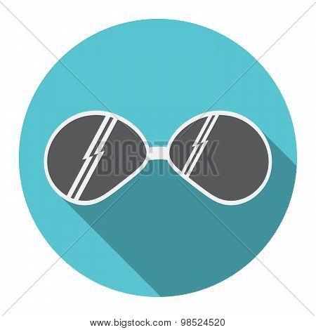 Flat Design Modern Vector Illustration Of Sunglasses Icon With Long Shadow, Isolated