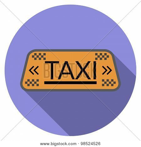 Flat Design Vector Taxi Icon With Long Shadow, Isolated