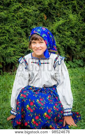 Young Girl In Romanian Traditional Dress. Maramures Area, Romania.