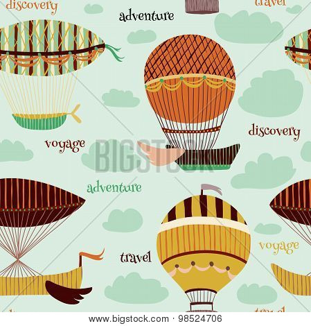 Retro colorful seamless pattern with set of flying balloons and airships. Cartoon fantasy vector ill