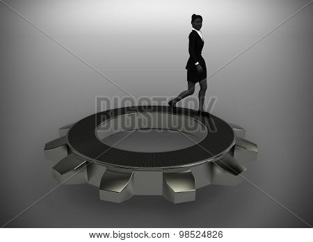 Executive walking on top of a gear