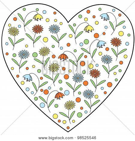 Vector heart element with daisy flowers and bellflowers inside