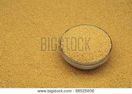 white millet in a glass dish