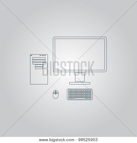 Computer case with monitor, keyboard and mouse, vector icon.
