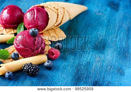 Red Ice Cream With Berries, Sorbet Copy Space Background