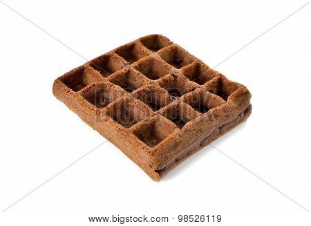 Chocolate Waffle With Raisin On White Background