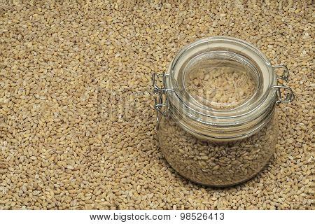 pearl barley in a glass jar