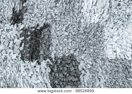 Abstract Texture Of The Weaved Rags In Silvery Tones