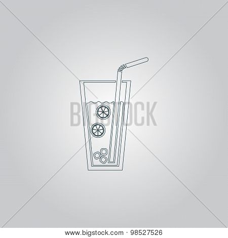 Ice drink with straw