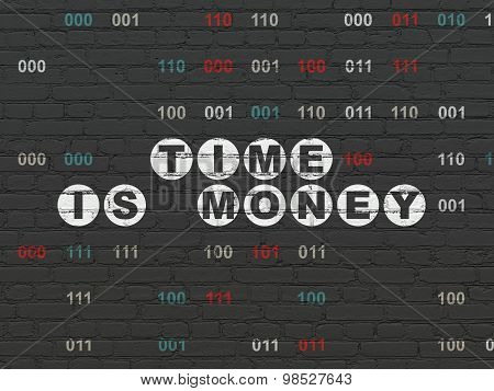 Time concept: Time Is money on wall background